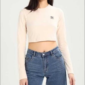 Adidas long sleeve crop top cream